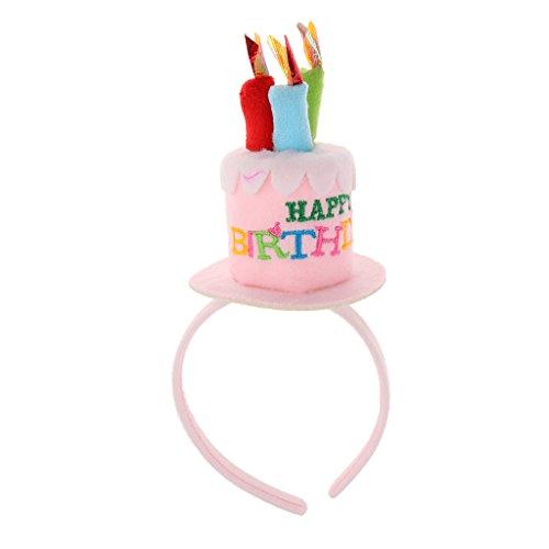 MagiDeal Geburtstag Kuchen Kerzen Stirnband Mädchen Party Haarband Geschenk - Rosa