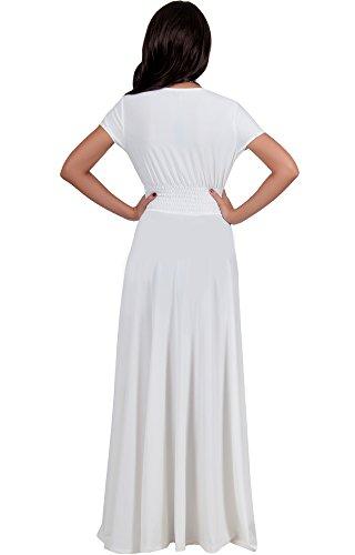KOH KOH® Damen Elegant Maxikleid Flügelärmel Crossover Cocktail Langes Kleid Elfenbein Weiß