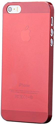 iCues Apple iPhone SE / 5S / 5 |  Ultra Slim Case Rot | [Display Schutzfolie Inklusive] Extra Leicht sehr Dünn Transparent Klarsichthülle Durchsichtig Klare Klarsicht Schutzhülle Hülle Cover Schutz Red