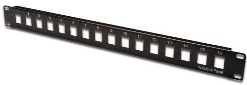 DIGITUS Patch-Panel Modular - 16 Ports - 1HE - Ungeschirmt - Für Keystone-Module - 19 Zoll Rack - Schwarz -