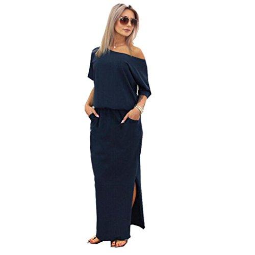 Kleider Damen Elegant LHWY Frauen Sommer Langes Kleid Maxi Boho Abend Partykleid Schulterfrei Kurzarm Split Strand Rock Casual Dress mit Tasche Mode Design Kleidung (M, Navy)