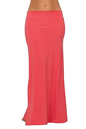 Womens Casual Jersey Knit Solid Color Low Rise Floor Length Flare Maxi Skirt