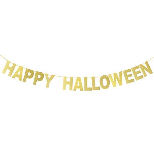 Amosfun Brief Bunting Banner Glitter Papier Banner Happy Halloween Home Party Dekorationen Halloween Requisiten Lieferungen (Happy Glitter Halloween)