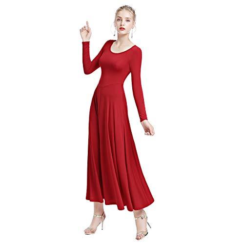 Obeeii donna vestito de danza manica lunga abito da balletto ginnastica body classico danza combinazione chiesa preghiera coro costume rosso l