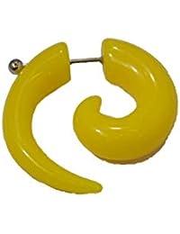 Espiral extensor falso para la oreja de acrílico amarillo con una dilatación ...