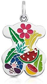 TOUS colgante de mujer en acero inoxidable con esmalte multicolor, tropical. Tamaño 2,2 cm