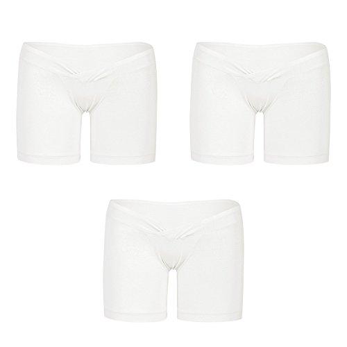 Freebily 3er Pack Schwangere Unterwäsche Shorts Unterhosen Umstands Leggings Höschen Slip Bequeme M-XXL 3er in Ivory