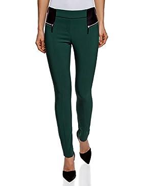 oodji Collection Donna Pantaloni Elasticizzati con Zip Decorative