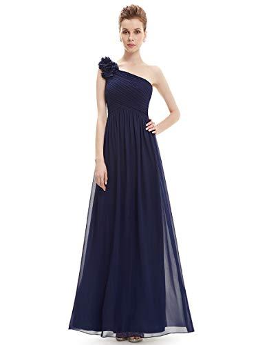 Ever-pretty vestito da cerimonia donna chiffon a fiori una spalla stile impero senza maniche blu navy 36