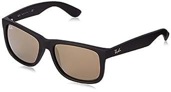 Ray Ban Unisex Sonnenbrille Justin, Gr. Large (Herstellergröße: 55), Schwarz (Gestell: schwarz, Gläserfarbe: gold verspiegelt 622/5A)