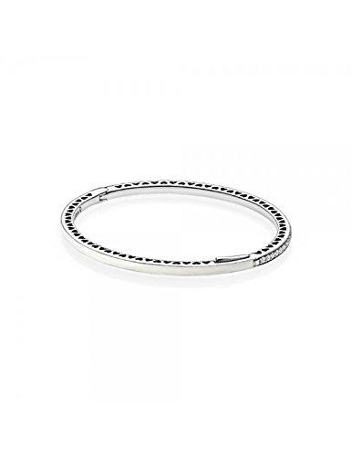 Pandora - doppio cinturino in pelle intrecciata honeysuckle rose fibbia argento rotonda 925/1000 pandora 590734chp-d - 16 cm