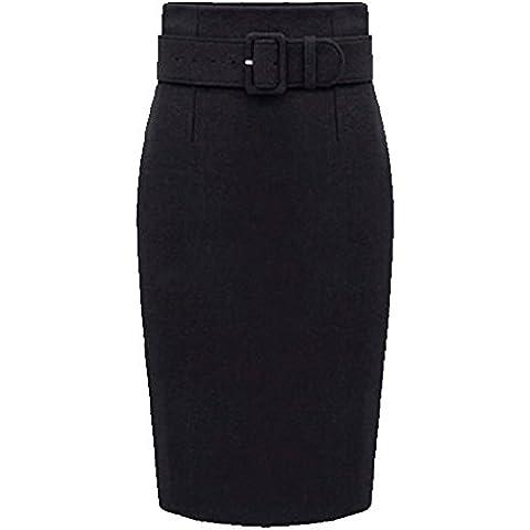 Mujer Cintura Alta Faldas De Tubo Fiesta Falda Delgado De Lana Negro S