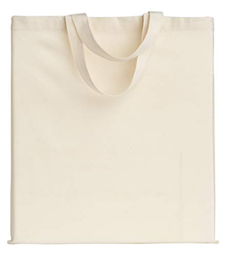 POLHIM Qualität Baumwolltasche Jutebeutel 145 Gramm Größe 38x42 cm Kruze Henkel 35 cm Natur 100% Baumwolle. (Natur, 100 Stück)