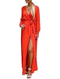 Vestidos Largos Mujer,Modaworld ❤ Moda Vestido Largo Suelto con Cuello en V para
