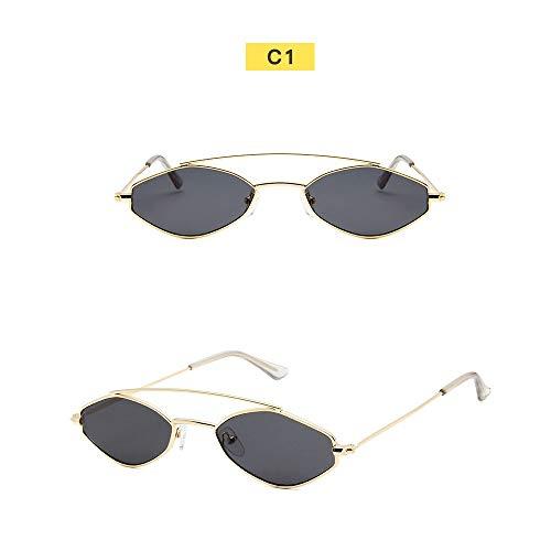 Wang-RX Polygonale Sonnenbrille Frauen Brille Lady Luxus Retro Metall Sonnenbrille Vintage Spiegel Uv400 10colors