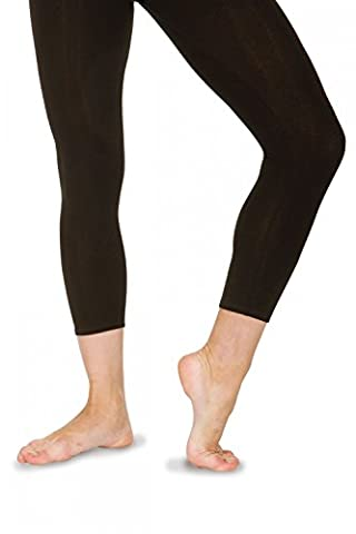 Roch Valley Footless Calf LengthTights Leggings Cotton Lycra Black Dance Gym (4 Adult Medium UK