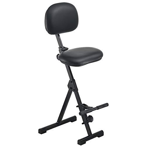 Stehhilfe - Höhenverstellbereich von 550 - 900 mm, mit Fußstütze - Kunstlederbezug schwarz - Arbeitsstuhl Stehhilfe Stehstütze Stehstützen Stuhl
