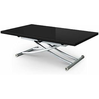 Table basse relevable extensible noir laqué 8 places STUDIO ...