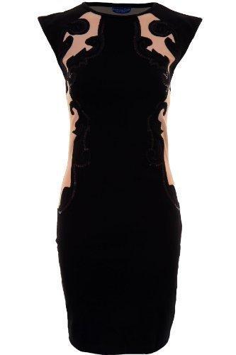 SAPHIR Femmes Sans Manches Maille Contraste Paisley Sequin femmes Robe Soirée Moulante Noir