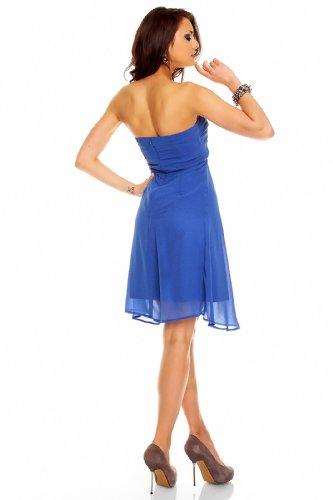 Empire Kleid Cocktailkleid Abendkleid kurz aus Chiffon in verschiedenen Farben Blau