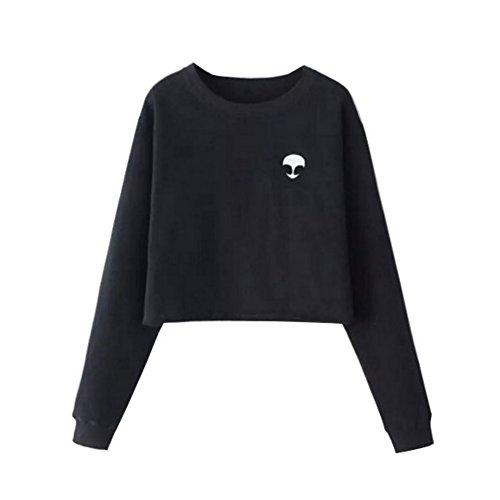 Wodery Donne Alien modello magliette felpate manica lunga Pullover camicetta