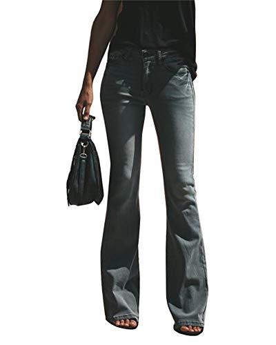 Guiran Mujeres Pantalones Vaqueros Cintura Alta Jeans Acampanados Denim Pantalone De Campana Negro S