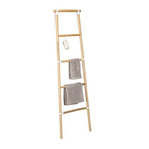 Relaxdays 10021507_126 scala portasciugamani bagno, legno, stile rustico, porta asciugamani, hxlxp: 150 x 50 x 3 cm, marrone