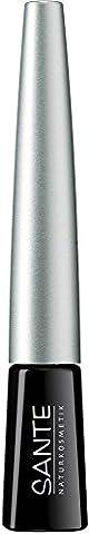 SANTE Naturkosmetik Dip Eyeliner No. 01 black, Flüssiger Eyeliner, Feine spezielle Filzspitze, Karminfrei, Natural Make-up, 3ml