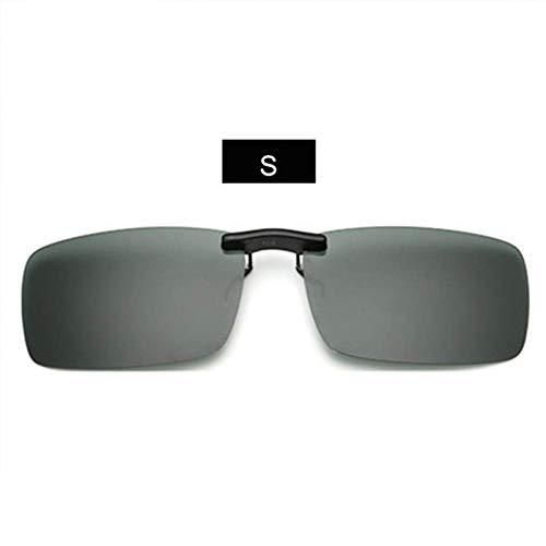 YHEGV Randlose polarisierte Sonnenbrille Clip auf Brille für Fahrer Fahren Nachtsicht Sonnenbrille Männer Flip auf Myopie Brille Uv400