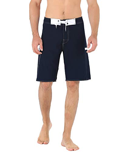 Unitop Herren Badeshorts Strandshorts Urlaub Hawaii bunt gestreift, Herren, Navy Blue(with 2 Pockets), 28 -