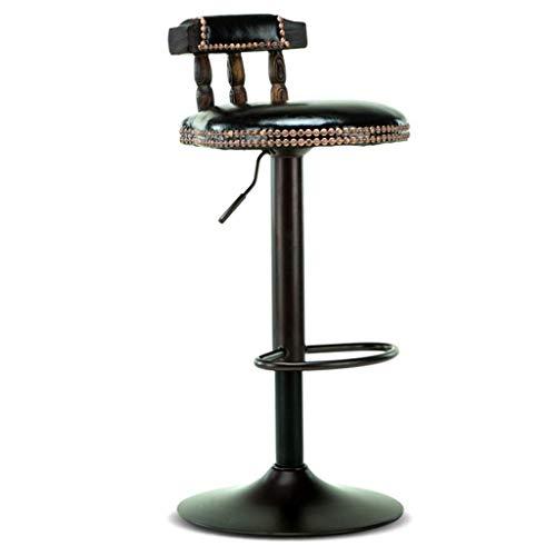 QiXian Vintage Stuhl-Fußbank, Schwarzer Pu-Sitz Holzrücken Verstellbarer Gasdrehheber 60~80Cm Frühstücksbar, Grün, Sitzhöhe: 60~80 cm
