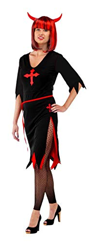 (Folat 23735 Kleid Halloween Damen Teufel, L/XL, schwarz/rot Costume)