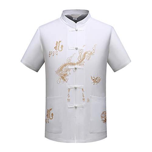 Anzug Kostüm Mao - Goyajun Herren Traditionelle Chinesische Tang Anzug Kleidung Anzüge Hanfu Kurzarm Shirt Tai Chi Uniform Wing Chun Anzug Kostüm