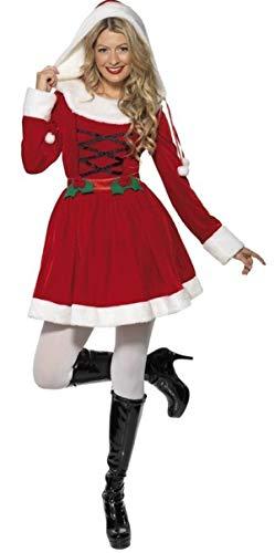Mrs Santa Kind Claus Kostüm - Fancy Me Damen Stechpalmen Claus Miss Santa Weihnachten Mrs Weihnachten festlich Kostüm Kleid Outfit - Rot, 12-14