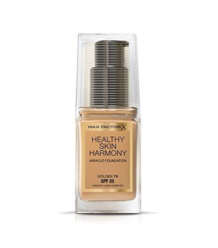 Max Factor Healthy Skin Harmony Fondotinta Liquido, Formula Idratante a Lunga Durata con SPF 20, 75 Golden, 30 g