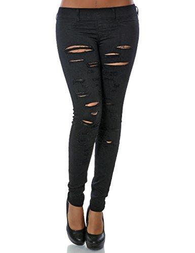 Damen Treggings Hose Skinny (Röhre weitere Farben) No 14101, Farbe:Schwarz;Größe:40 / L