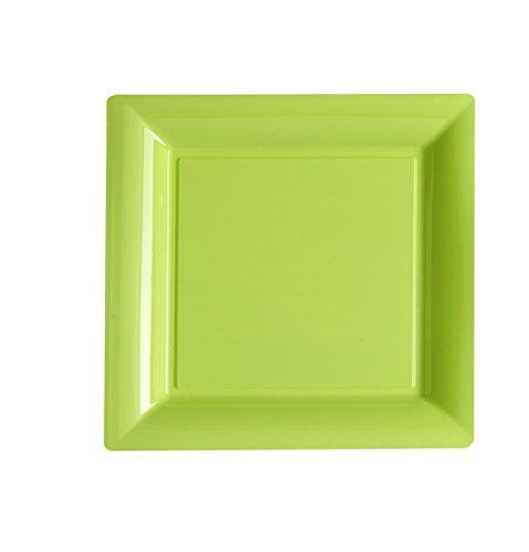 Ma Vaisselle Jetable - Assiette Carree Couleur Vert Anis Diametre 235