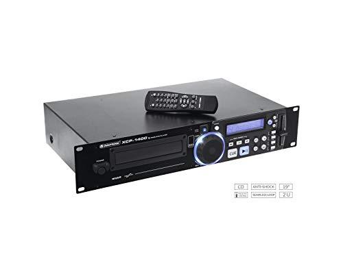 OMNITRONIC XCP-1400 CD-Player | mit IR-Fernbedienung für DJs | 40 Sekunden Anti-Shock-Puffer