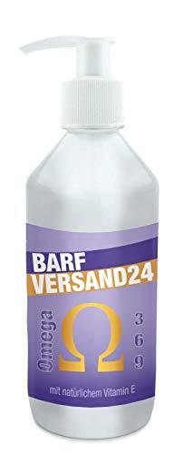 Barfversand24 | Omega 3-6-9-BARF-Öl für Hunde | 500ml mit Pumpspender | enthält u.A. Lachsöl, Hanföl, Borretschöl und Vitamin E