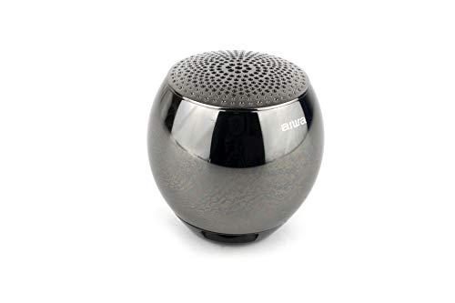 AIWA Atom Bluetooth-Lautsprecher|Tragberer Bluetooth Musikbox| Gehäuse aus gefräster Metalllegierung (schwarz) Aiwa Stereo