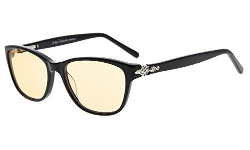 Eyekepper Anti Blaues Licht Gläser, Acetat Rahmen Anti Blau Strahl Überanstrengung der AugenEntlastende Brillen Computer Brillen, Bernstein getönten Linsen (Schwarz,+0.00)