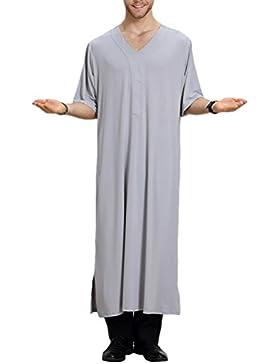 Zhhlinyuan Vestido árabe Mens Muslim Thobe Dishdasha Half Sleeve Robe Long Tops Shirt Arabic Dress Middle East