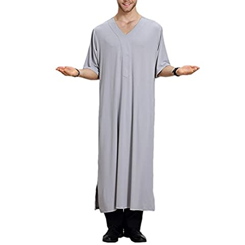 Zhhlinyuan Arabisches Kleid Mens Muslim Thobe Dishdasha Half Sleeve Robe Long Tops Shirt Arabic Dress Middle East