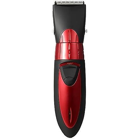 Gosear HC-001 Maquinilla de Cortapelo lavable Cortabarba impermeable / Portátil Cortadora de pelo eléctrica recargable / Producto cuidado del bebés con Enchufe UE,Rojo