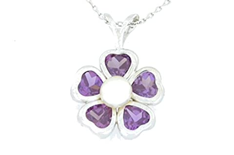 2.5 Ct Alexandrite Heart & White Freshwater Pearl Bezel Pendant .925 Sterling Silver Rhodium Finish