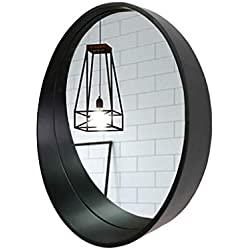 Espejo de Pared de Madera Maciza Vintage Redonda con Estante Diámetro 50/60/70 cm Baño/vestidor/Sala de Estar Práctico Creativo Espejo Negro (Size : Diameter 60cm)