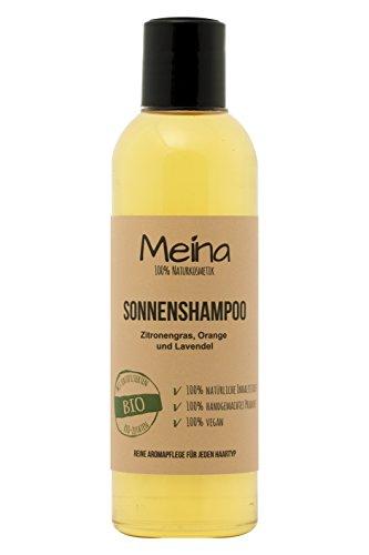Meina – Naturshampoo mit Zitronengras, Orange und Lavendel (1 x 220 ml) Shampoo mit Bio Mandelöl und Bio Kokosöl, ohne Silikone, Sulfate und Parabene, für Männer und Frauen – Naturkosmetik