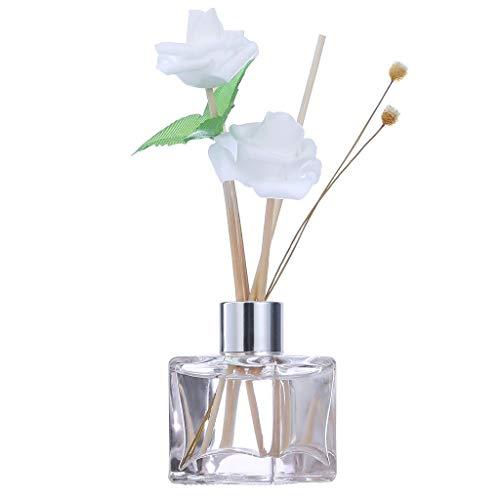 Reed Oil Diffusorenmit Natürliche Rattan Sticks, Glasflasche und Duftöl 50ML Quadratische Flasche Weiße Rose, Kein Feuer Aromatherapie LONGFINE