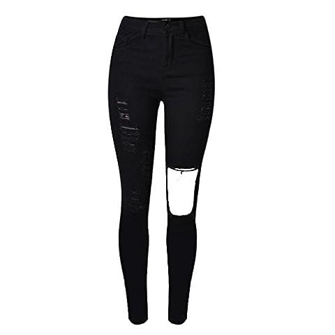 jeans pour femme disco high waist black denim loose straight trouser zipper pocket holes slim elasticity worn tight pants , black , 42