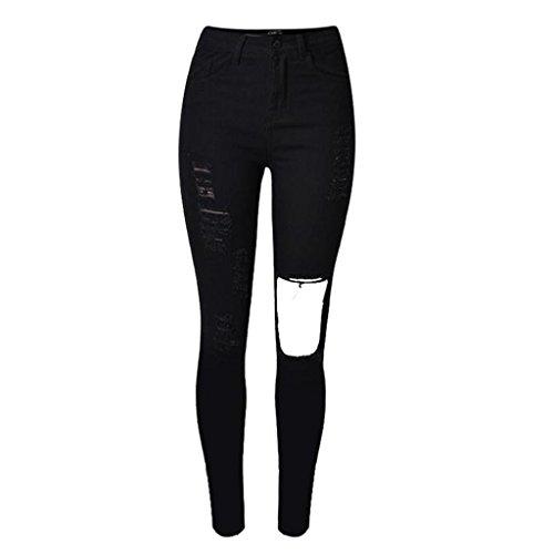 damen jeans disco hohe taille schwarz denim loose straight hosen reißverschluss taschenlöcher slim elastizität getragen tight pants . black . 36
